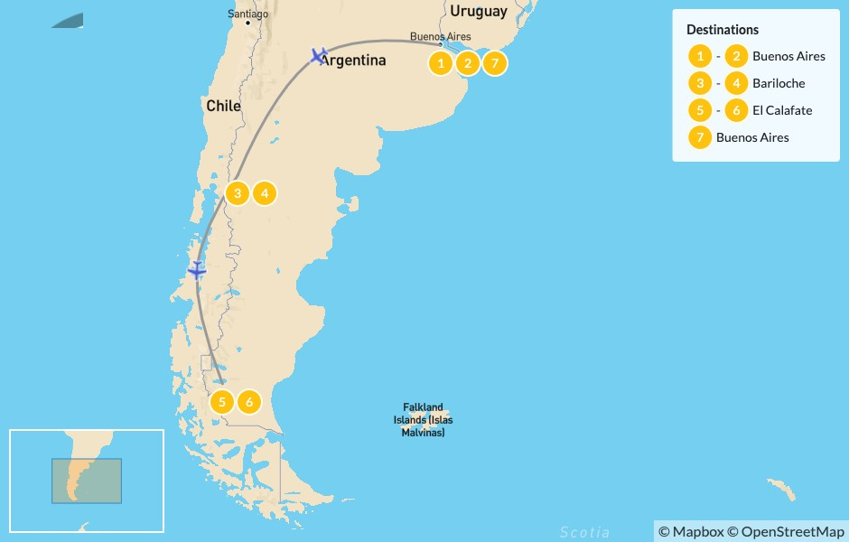 Map of Argentina Outdoor Adventure: Buenos Aires, Bariloche and El Calafate - 8 Days