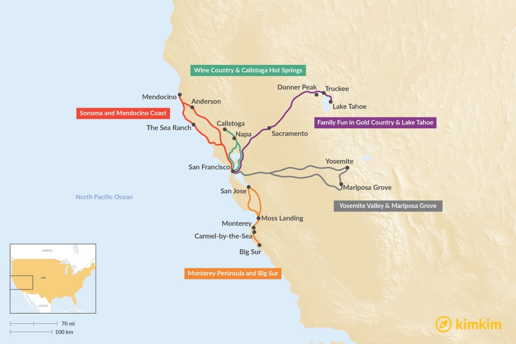Map of Northern California Long Weekend Trips: Coastal Drives, Wine Weekends, & Sierra Exploration