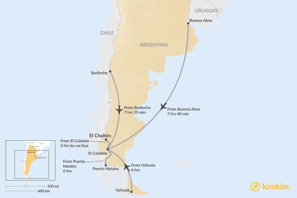 Map of How to Get to El Chaltén