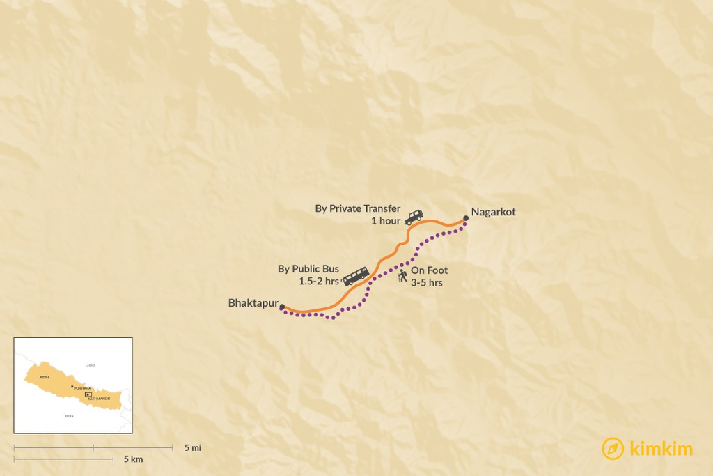 Map of How to Get from Nagarkot to Bhaktapur