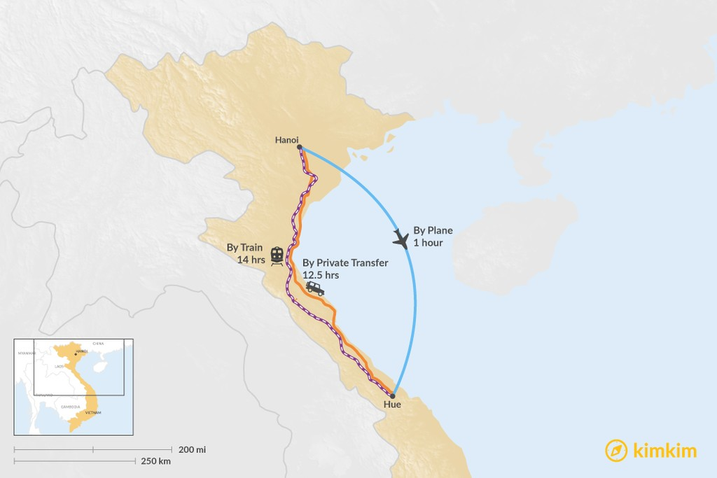 Map of How to Get from Hanoi to Hue