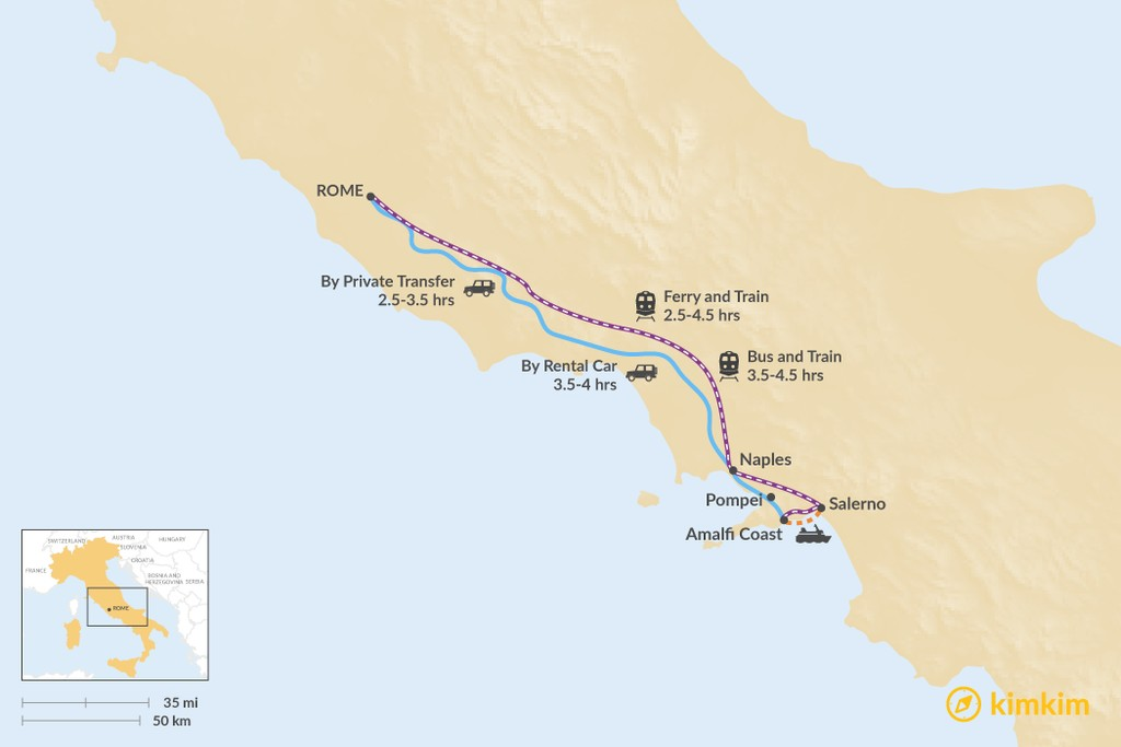 Map of How to Get from Amalfi to Rome