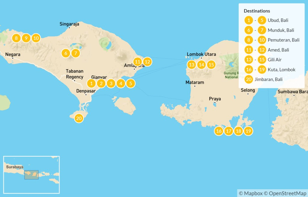 Map of Family Trip to Indonesia: Bali, Gili Air & Lombok - 21 Days
