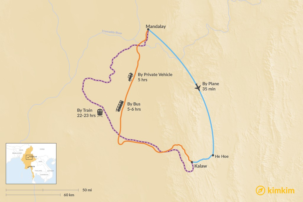 Map of How to Get from Mandalay to Kalaw
