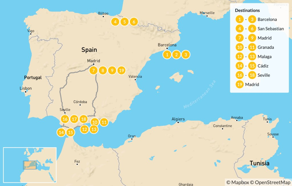 Map of Spain North to South: Basque Country to Andalusia - 20 Days