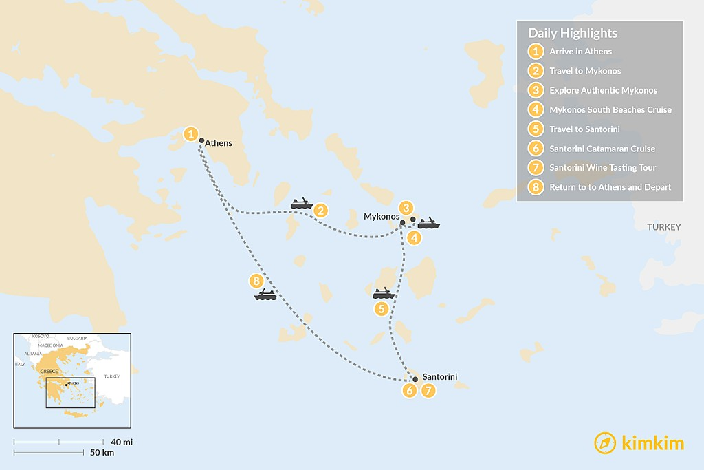 Map of Discover Athens & the Cyclades - 8 Days