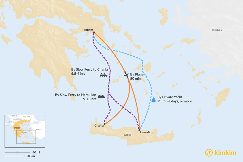 Map of How to Get from Athens to Crete