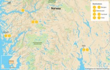 Map thumbnail of Best of Norway: Bergen, Balestrand, Aurland, & Oslo - 8 Days
