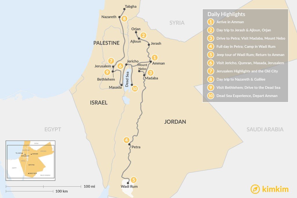 Map of Highlights of Jordan & Israel: Petra, Wadi Rum, Jerusalem, Nazareth & More - 10 Days