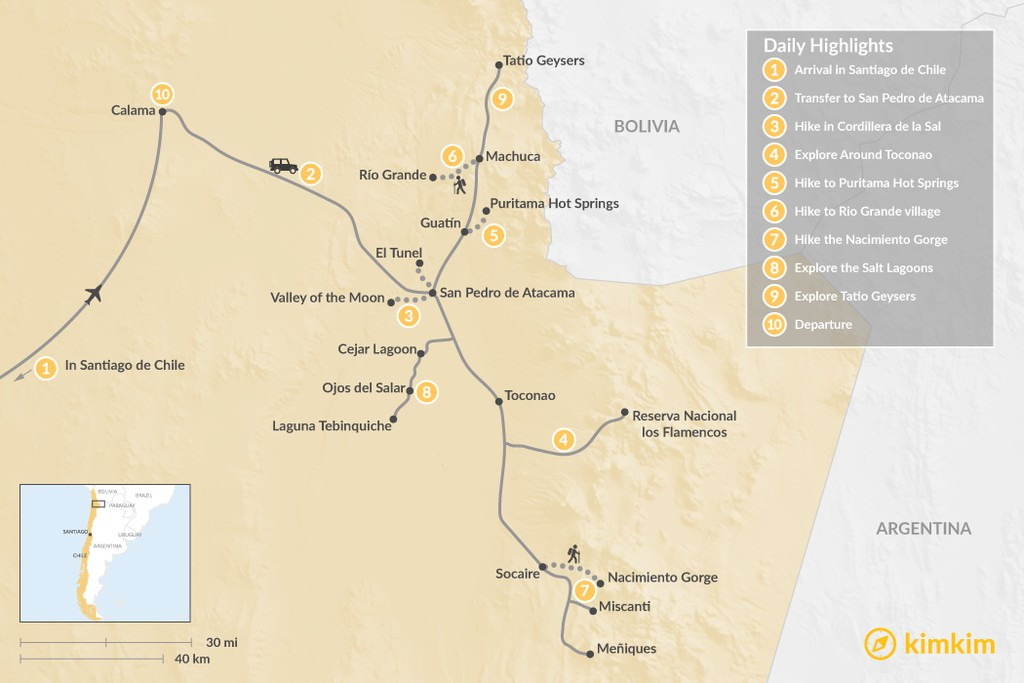Map of Hiking the Atacama Desert - 10 Days