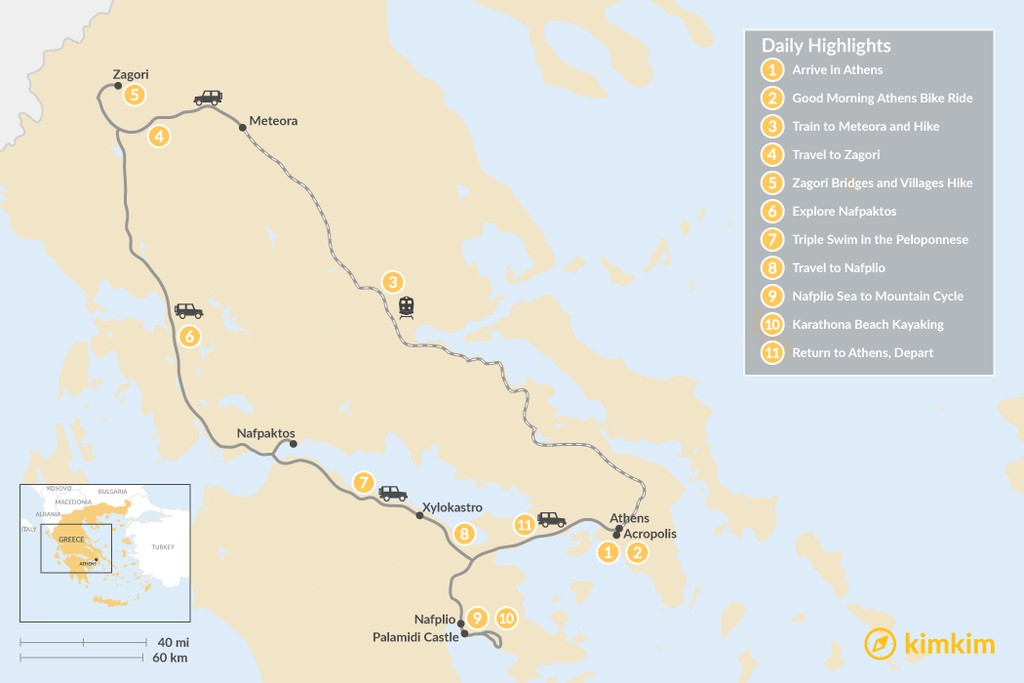 Map of Mainland Greece Adventure Trip - 11 Days