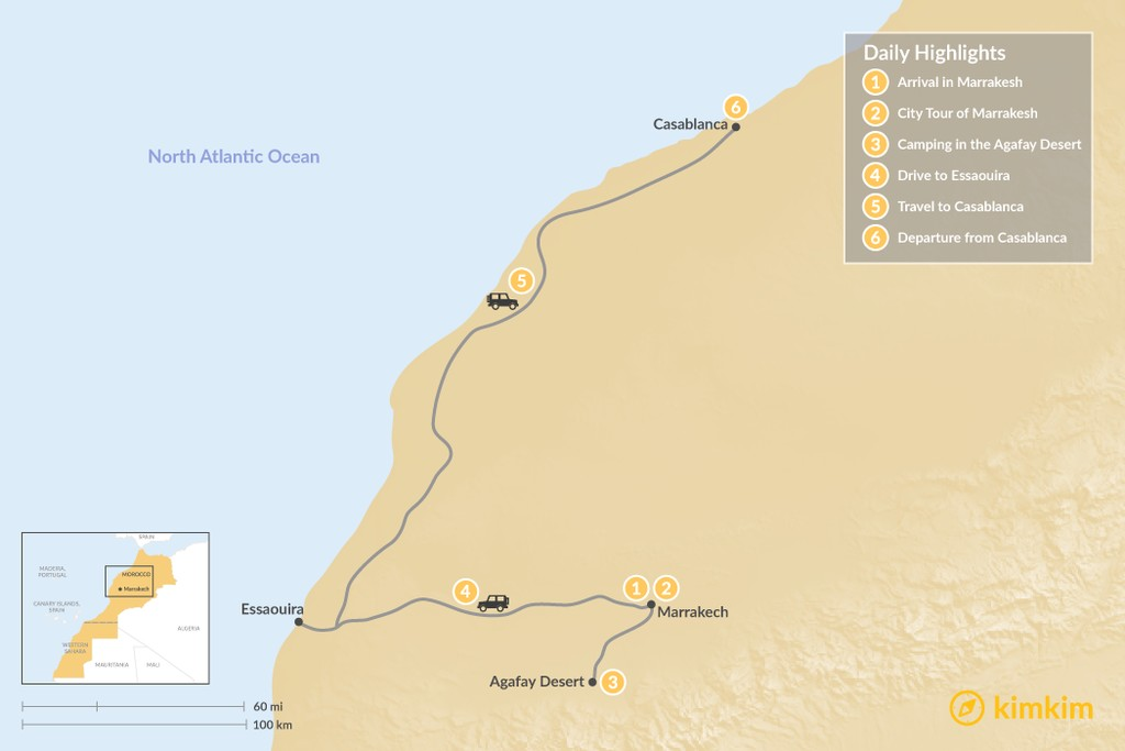 Map of Marrakesh to Casablanca: Agafay Desert & Atlantic Coast - 6 Days
