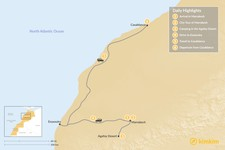 Map thumbnail of Marrakesh to Casablanca: Agafay Desert & Atlantic Coast - 6 Days
