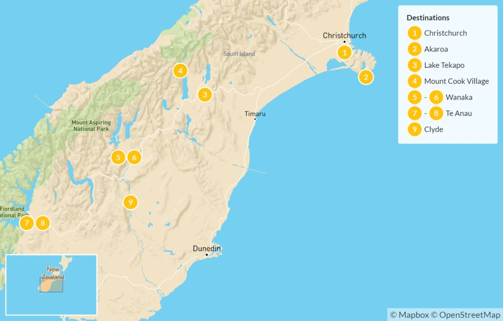 Map of Best of New Zealand's South Island - 10 Days