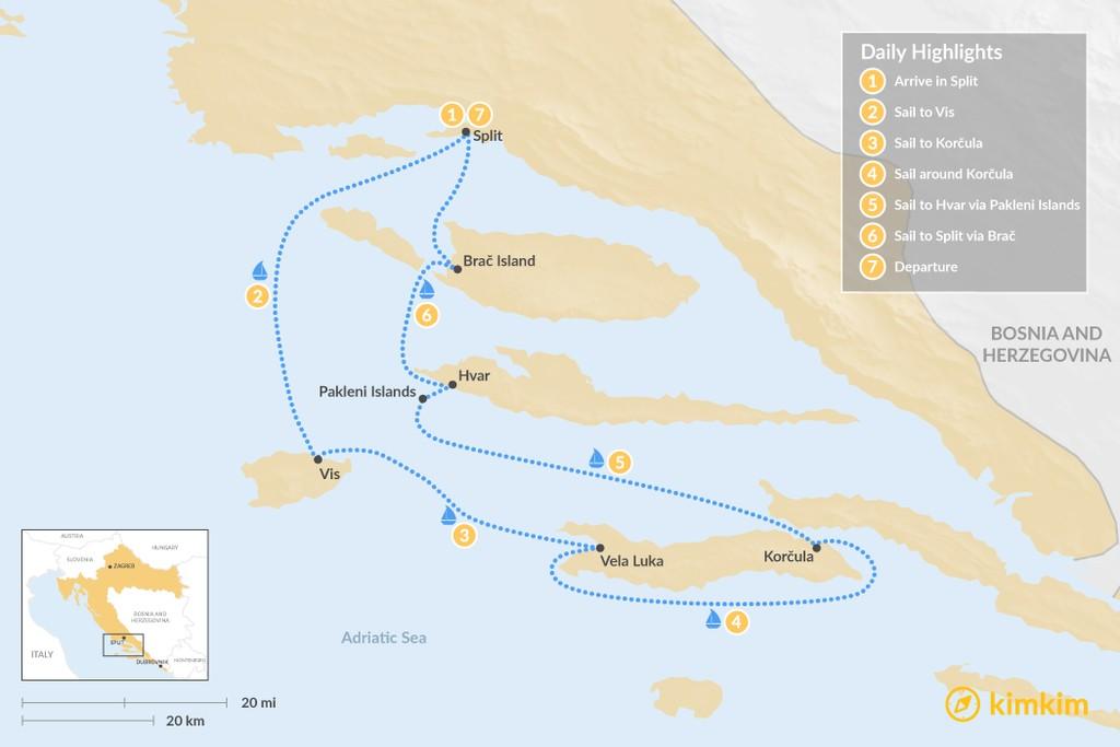 Map of Sailing Dalmatia: Vis, Korčula, Hvar & Brač - 7 Days