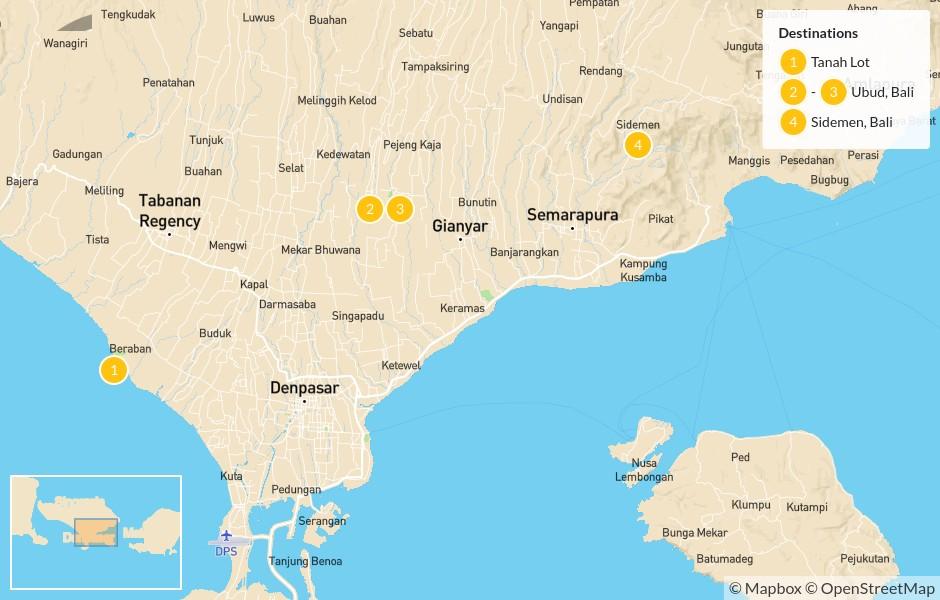 Map of Scenic Bali: Tanah Lot, Ubud, Sideman - 5 Days