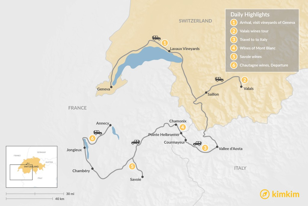 Map of Exploring the Wine Regions of Mont Blanc - 6 Days