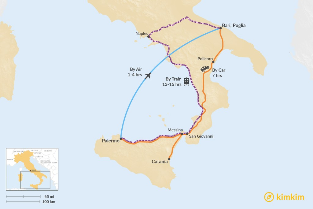 Map of How to Get from Sicily to Puglia