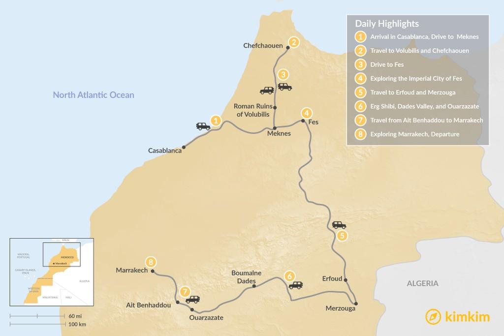 Map of Grand Tour: Casablanca, Meknes, Chefchaouen, Fes, Sahara Desert, Marrakech - 8 Days