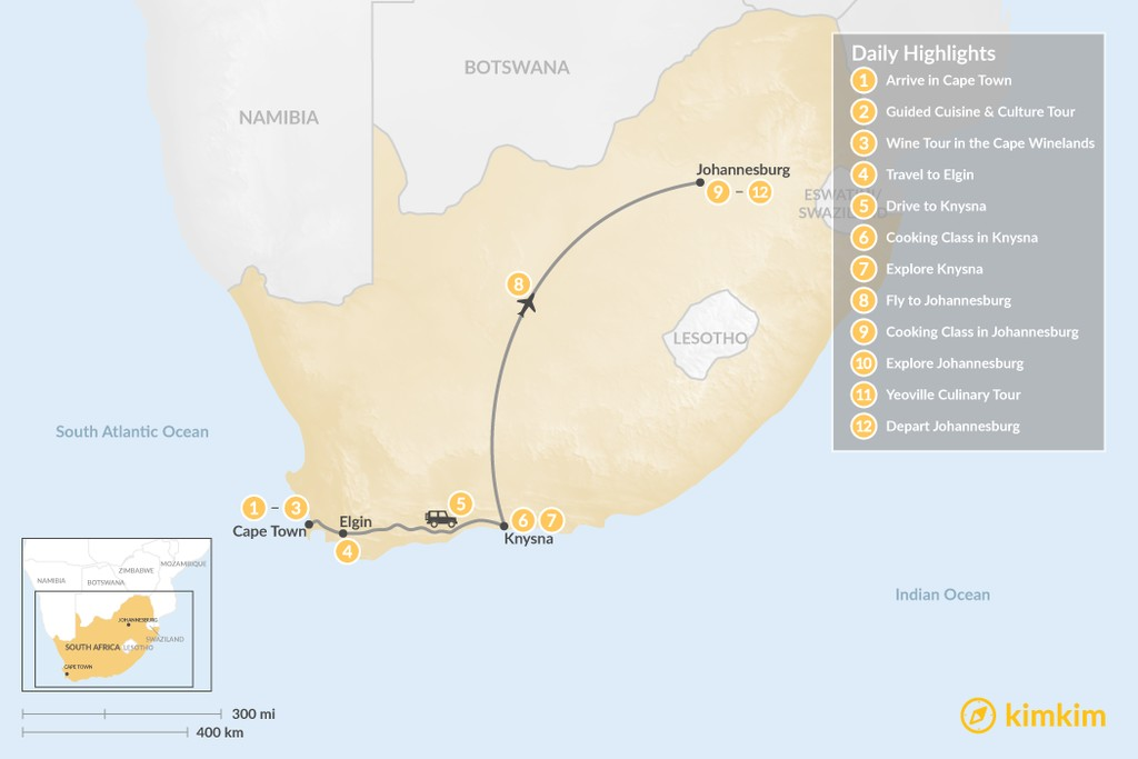 Map of South Africa Food & Wine Tour: Cape Town, Garden Route, & Johannesburg - 12 Days