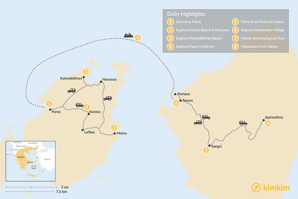 Map of Off-the-Beaten-Path in Paros & Naxos - 8 Days