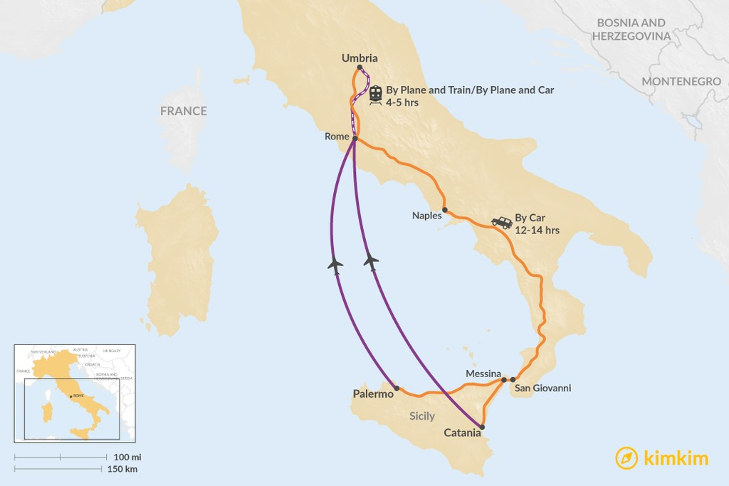 Map of How to Get from Sicily to Umbria