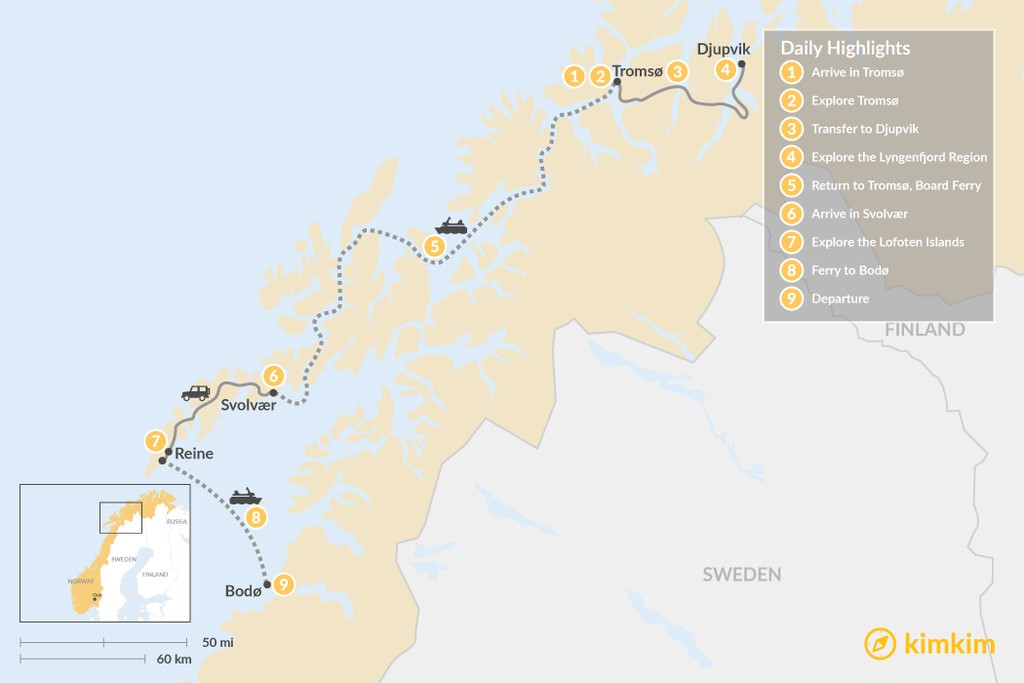 Map of Romantic Autumn Adventure in Norway's Arctic - 9 Days