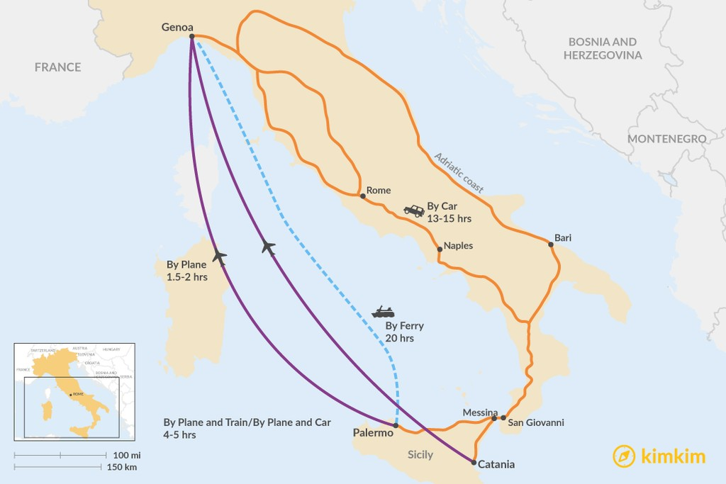 Map of How to Get from Sicily to the Italian Riviera