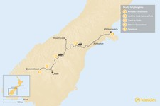 Map thumbnail of New Zealand South Island Adventure - 5 Days