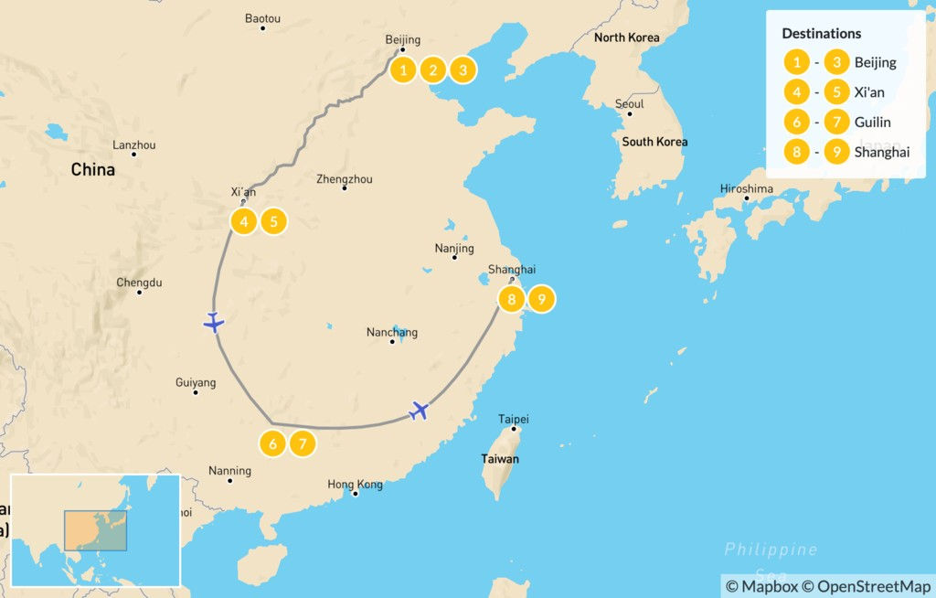 Map of China's Highlights - 10 Days