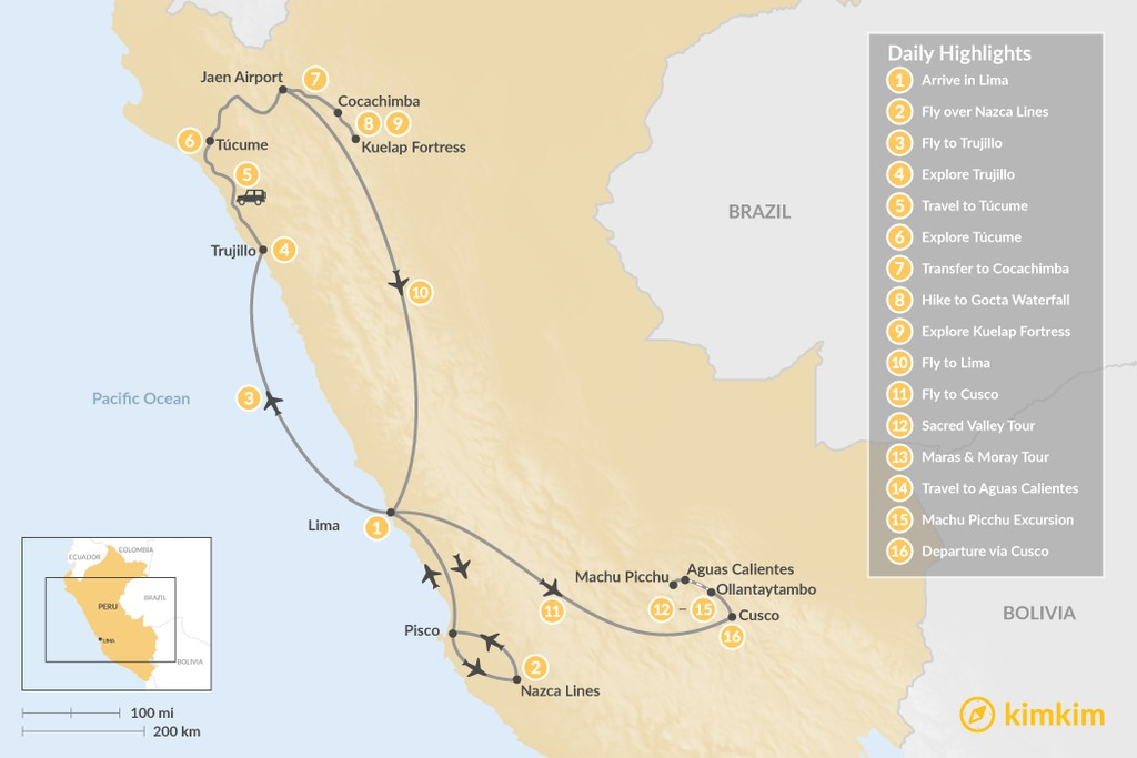 Map of Peru Cultural Tour & Short Inca Trail - 16 Days