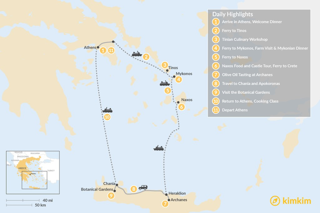 Map of Cyclades & Crete Culinary History Tour - 11 Days