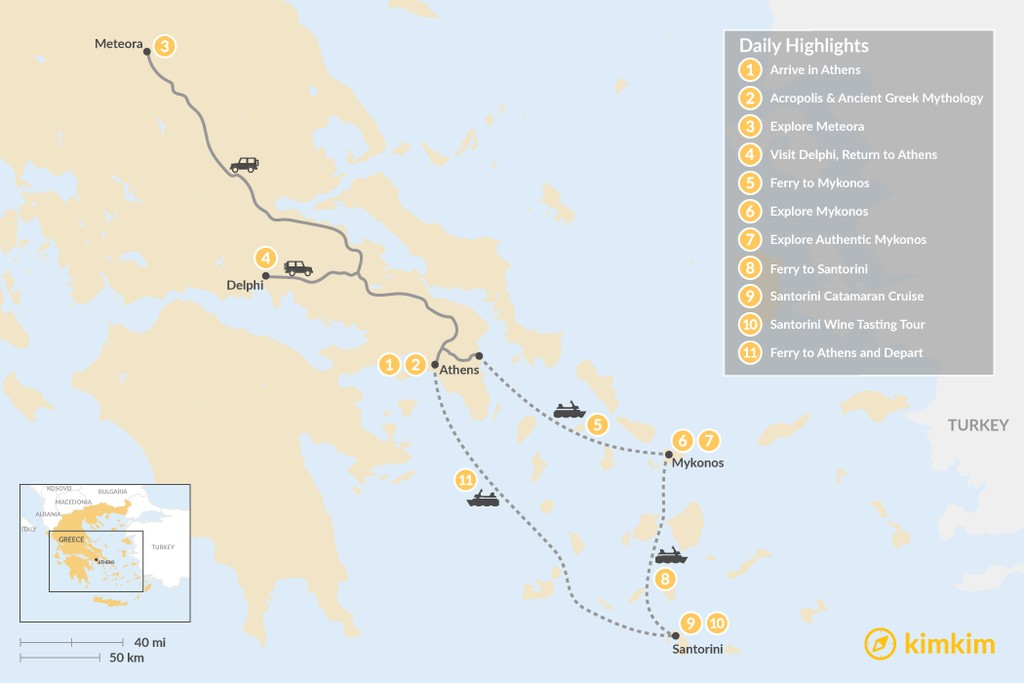 Map of Explore Athens, Meteora, Delphi, & the Cyclades - 11 Days
