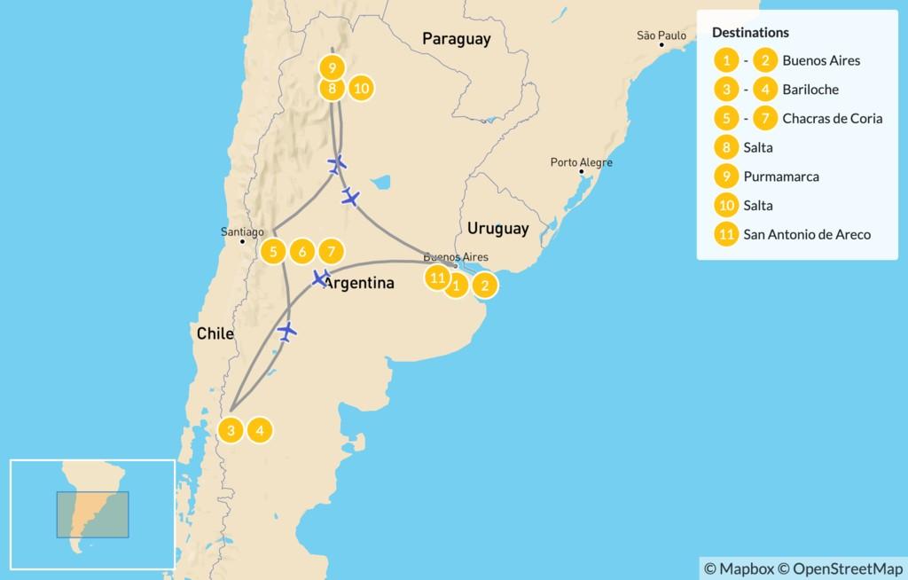 Map of Classic Argentina: Buenos Aires, Bariloche, Mendoza, & Salta - 12 Days
