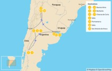 Map thumbnail of Classic Argentina: Buenos Aires, Bariloche, Mendoza, & Salta - 12 Days