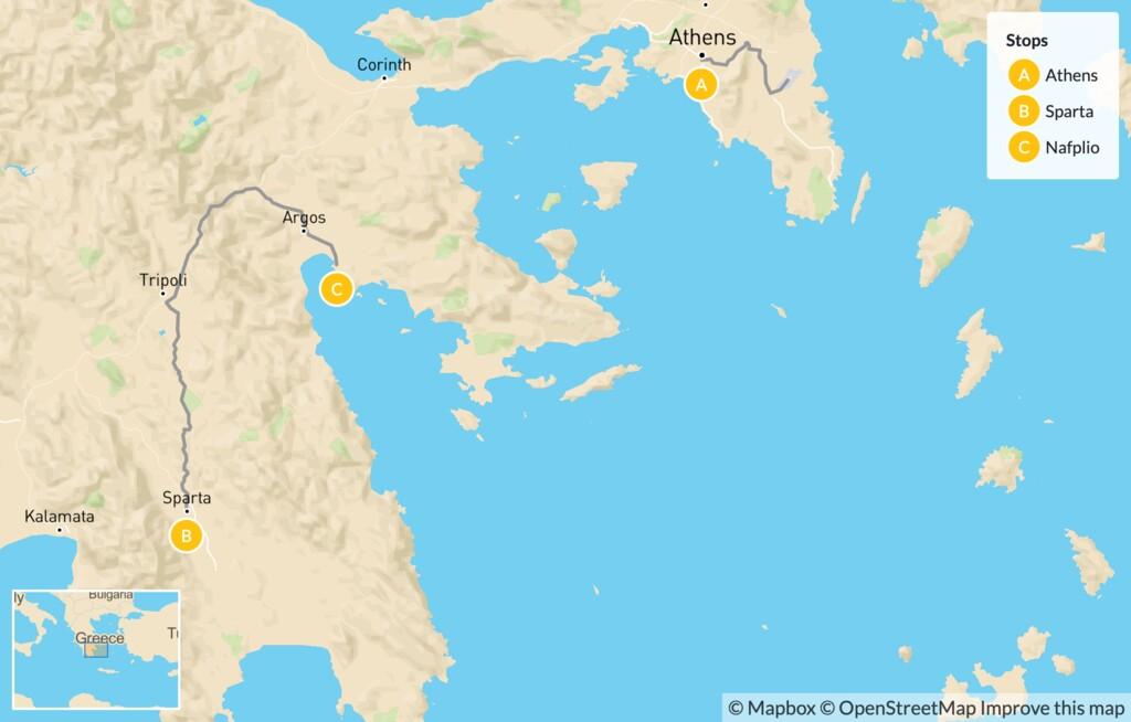 Map of Greek History, Nature, and Culture for Families: Athens & the Peloponnese - 7 Days