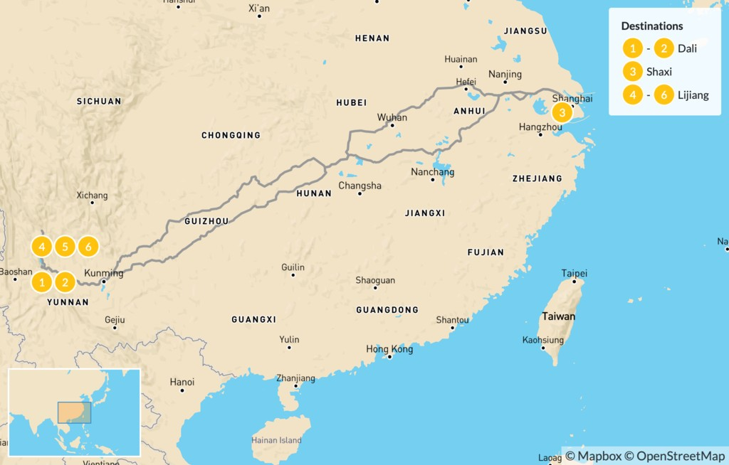 Map of Explore the Yunnan Province - 7 Days