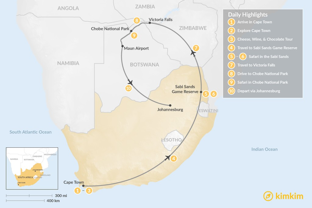 Map of Southern Africa Safari: Cape Town, Victoria Falls, Chobe National Park, & More - 10 Days