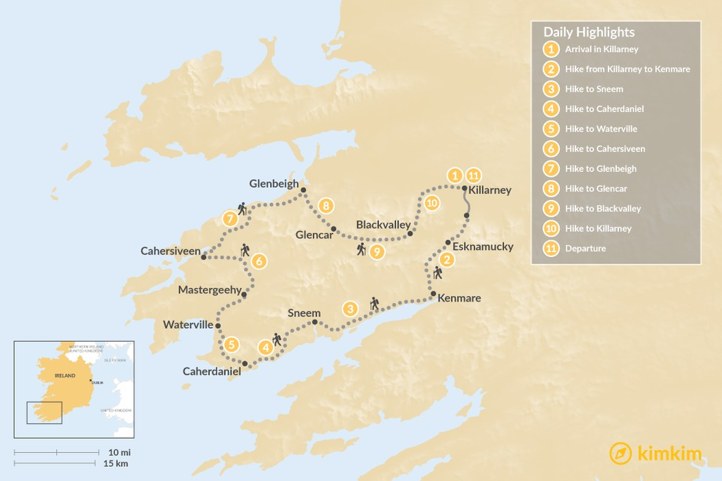 Map of Ring of Kerry Self-Guided Hike - 11 Days