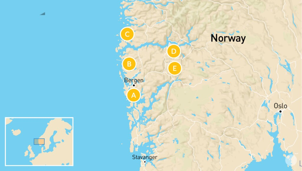 Map of Norwegian Viking Heritage Tour: Bergen & The Western Fjords - 7 Days