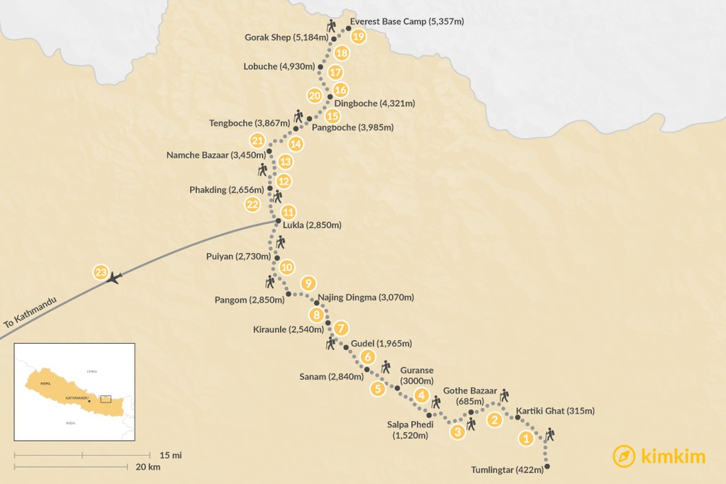 Map of Arun Valley to Everest Base Camp - 23 Days