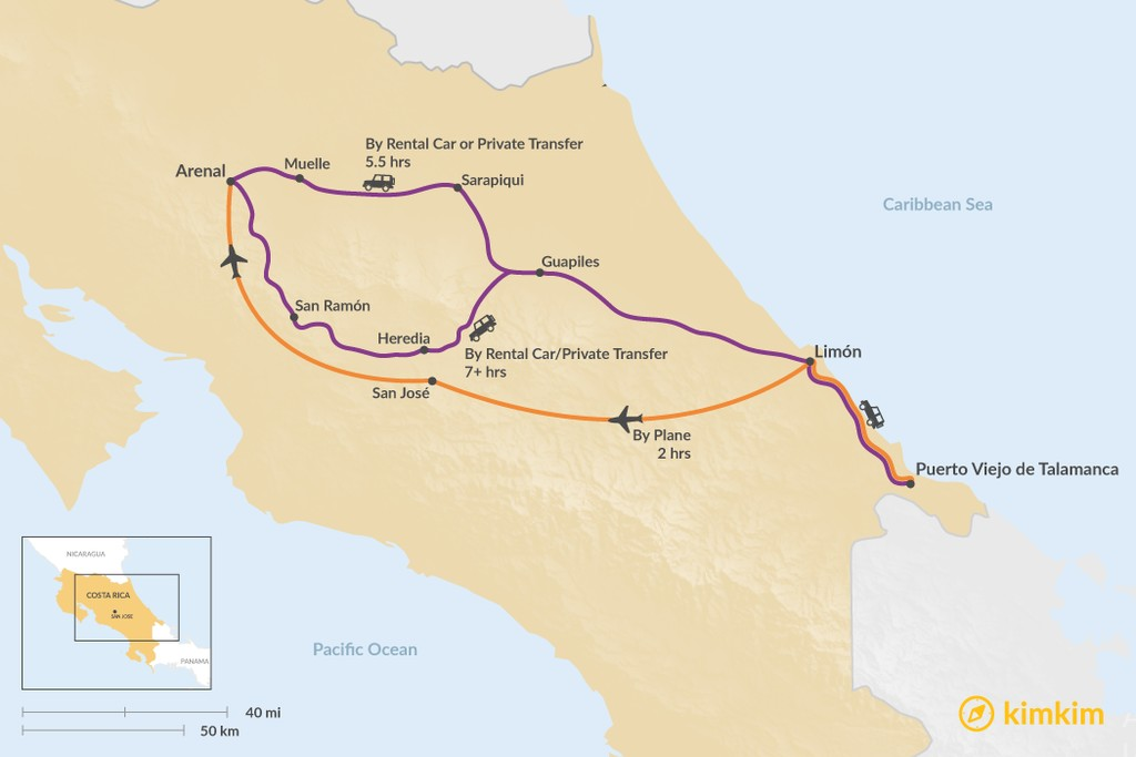 Map of How to Get from Puerto Viejo de Talamanca to Arenal