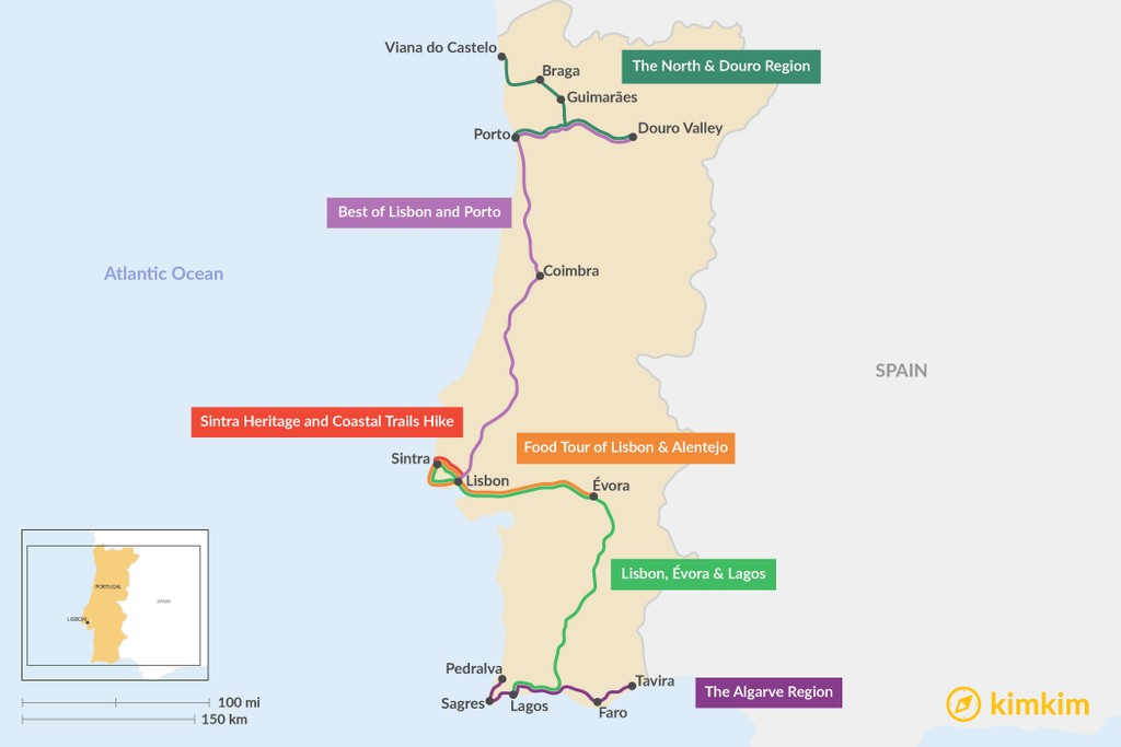 Map of 7 Days in Portugal - 6 Unique Itinerary Ideas