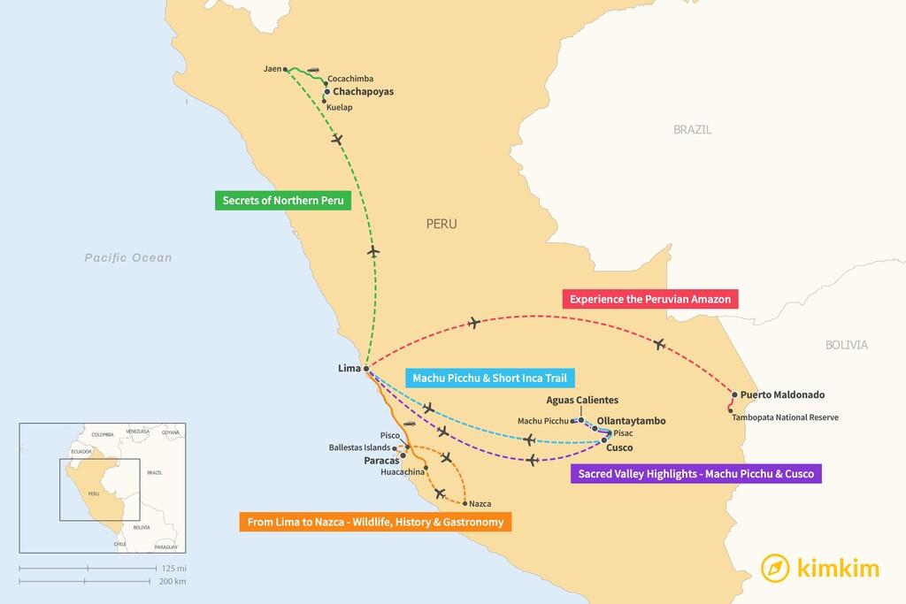 Map of 5 Days in Peru - 5 Unique Itineraries