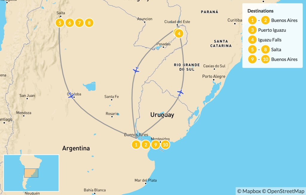 Map of Discover Northern Argentina - 10 Days