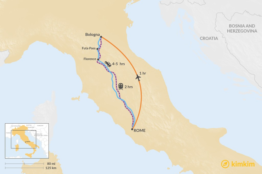 Map of How to Get from Rome to Bologna