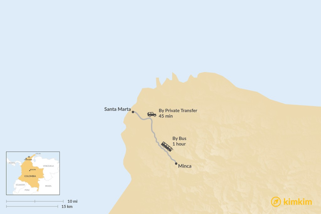Map of How to Get from Santa Marta to Minca