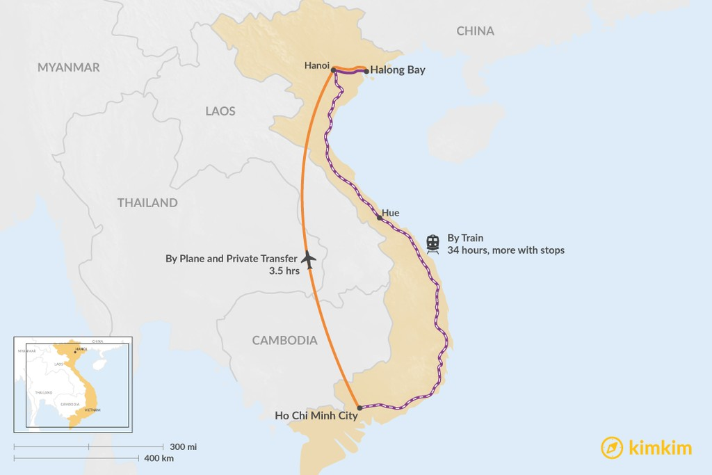 Map of How to Get from Ho Chi Minh City to Halong Bay