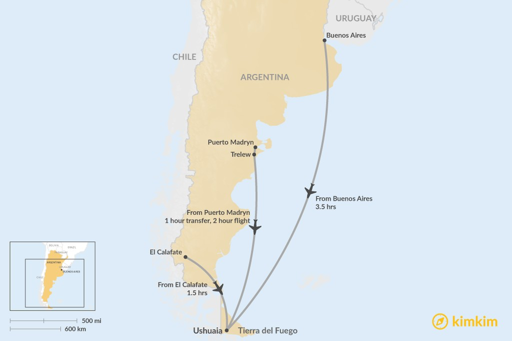 Map of How to Get to Tierra del Fuego