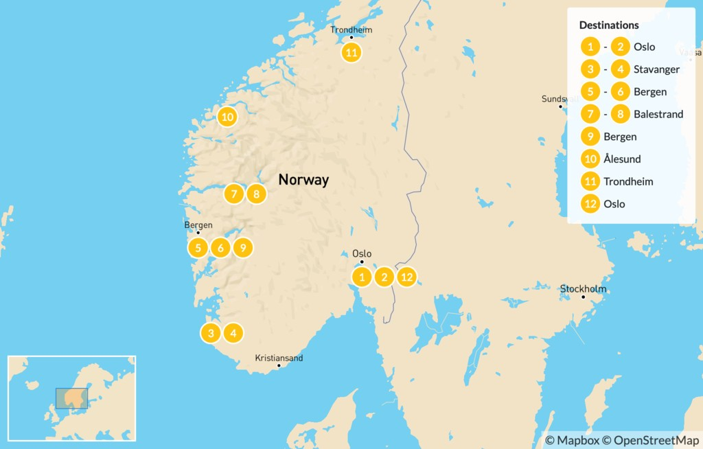 Map of Norway Fjords Summer Tour - 14 Days